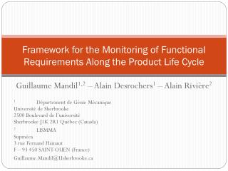 Framework for the Monitoring of Functional Requirements Along the Product Life Cycle