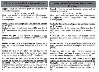 C5 � Le pr�sent de l�indicatif des verbes du 1 er  groupe
