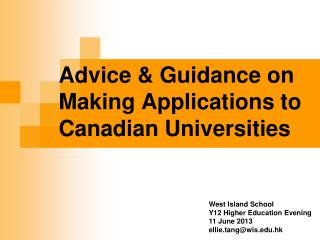 Advice & Guidance on Making Applications to Canadian Universities