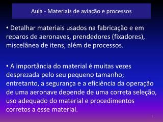 Aula - Materiais de aviação e processos