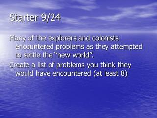 Starter 9/24