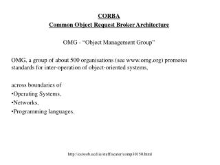 "CORBA Common Object Request Broker Architecture OMG - ""Object Management Group"""