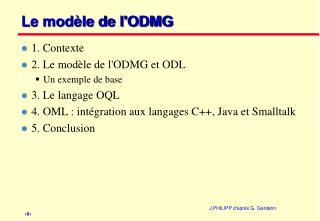 Le modèle de l'ODMG