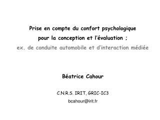 Notion de confort/inconfort psychologique: Du confort physique auc/i «psychologique»