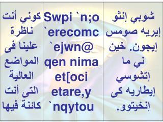 < ere ne ten]ho `ero @  ` w ;y=e=;=u `e;meh `n`wou @  ` etoi `mpar;enoc `ncyou niben @