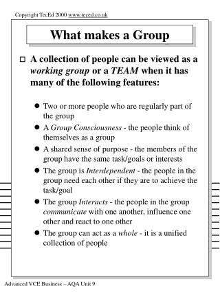 What makes a Group
