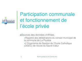 Participation communale et fonctionnement de l'école privée