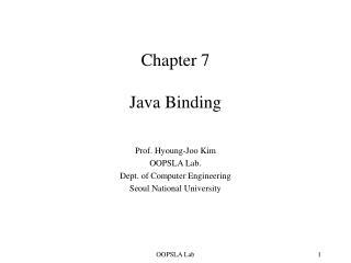 Chapter 7 Java Binding