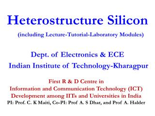 Heterostructure Silicon (including Lecture-Tutorial-Laboratory Modules)