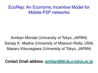 EcoRep: An Economic Incentive Model for Mobile-P2P networks
