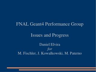 FNAL Geant4 Performance Group Issues and Progress Daniel Elvira for