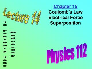 Chapter 15 Coulomb's Law Electrical Force Superposition