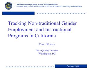Tracking Non-traditional Gender Employment and Instructional Programs in California