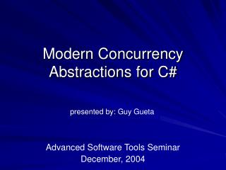 Modern Concurrency Abstractions for C#