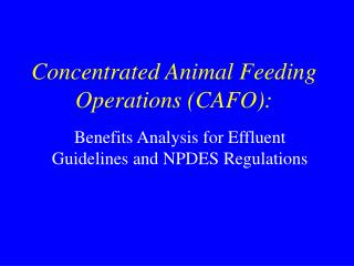 Concentrated Animal Feeding Operations (CAFO):
