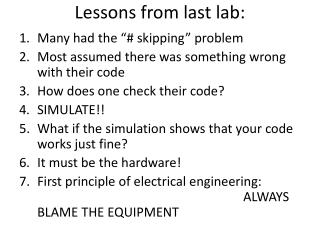 Lessons from last lab: