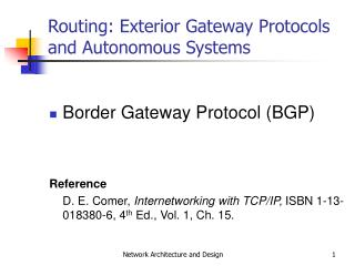 Routing: Exterior Gateway Protocols and Autonomous Systems