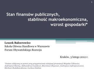 Leszek Balcerowicz Szkoła Główna Handlowa w Warszawie Forum Obywatelskiego Rozwoju