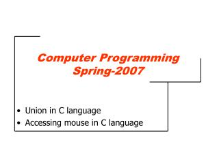 Computer Programming Spring-2007