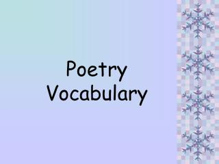Poetry  Vocabulary