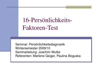 16-Pers nlichkeits-Faktoren-Test