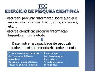 TCC  Exercício de pesquisa científica