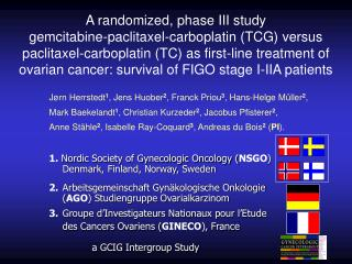 1.  Nordic Society of Gynecologic Oncology ( NSGO )  Denmark, Finland, Norway, Sweden