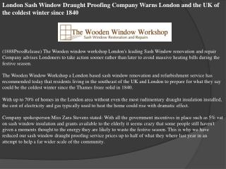 London Sash Window Draught Proofing Company Warns London and