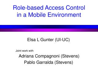 Role-based Access Control in a Mobile Environment