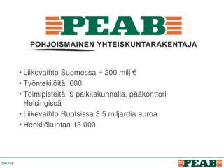 Liikevaihto Suomessa ~ 200 milj € Työntekijöitä  600