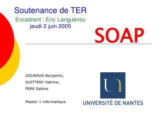 Soutenance de TER Encadrant : Eric Languénou jeudi 2 juin 2005