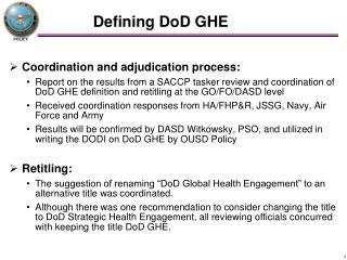 Defining DoD GHE