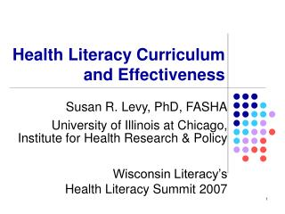 Health Literacy Curriculum and Effectiveness