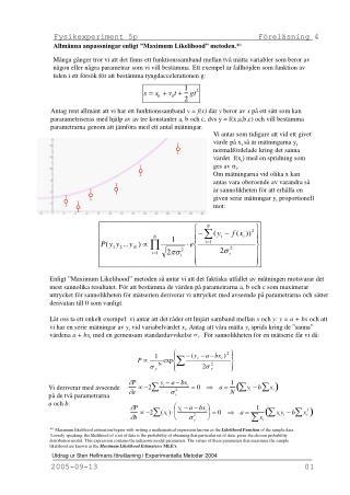 Fysikexperiment 5p                          Föreläsning 4
