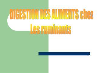 DIGESTION DES ALIMENTS chez Les ruminants