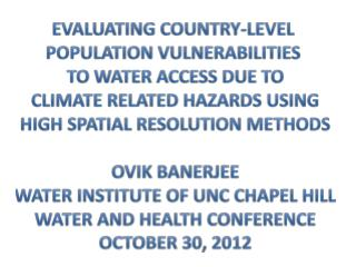 Evaluating country-level  Population vulnerabilities  to  water access due  to