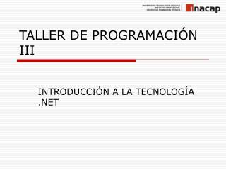 TALLER DE PROGRAMACIÓN III