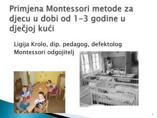 Primjena Montessori metode za djecu u dobi od 1-3 godine u dječjoj kući