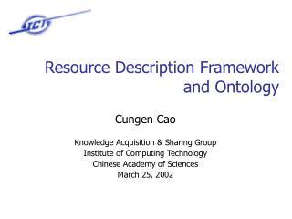 Resource Description Framework and Ontology
