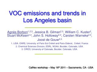 VOC e missions and trends in Los Angeles basin