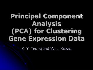 Principal Component Analysis PCA for Clustering Gene Expression Data
