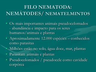 FILO NEMATODA: NEMÁTODES/  NEMATELMINTOS