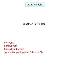 Mixed Models