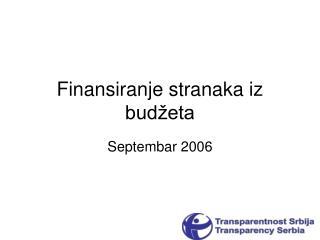 Finansiranje stranaka iz budžeta