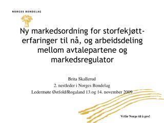 Brita Skallerud 2. nestleder i Norges Bondelag Ledermøte Østfold/Rogaland 13.og 14. november 2009