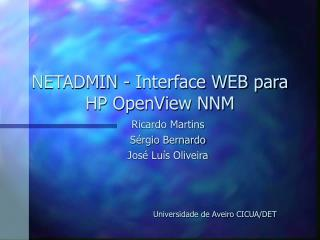 NETADMIN - Interface WEB para HP OpenView NNM