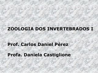 ZOOLOGIA DOS INVERTEBRADOS I Prof. Carlos Daniel Pérez Profa. Daniela Castiglione