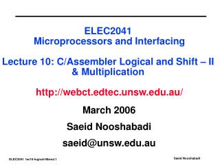 ELEC2041  Microprocessors and Interfacing   Lecture 10: C
