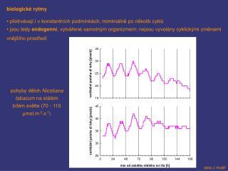 biologické rytmy  přetrvávají i v konstantních podmínkách, mimimálně po několik cyklů