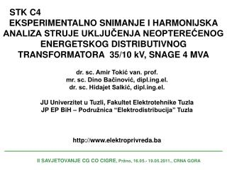 II SAVJETOVANJE CG CO CIGRE , Pržno, 16.05.- 19.05.2011., CRNA GORA